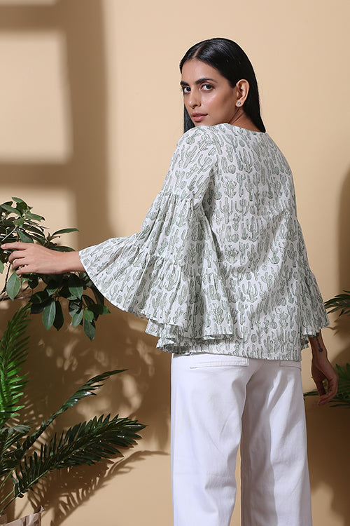 Okhai 'Agave' Hand Block Printed Pure Cotton Top