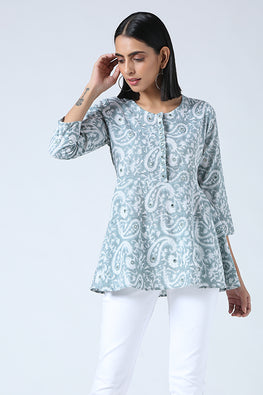 Okhai 'Ariel' Mirror Work Pure Cotton Handblock Printed Top