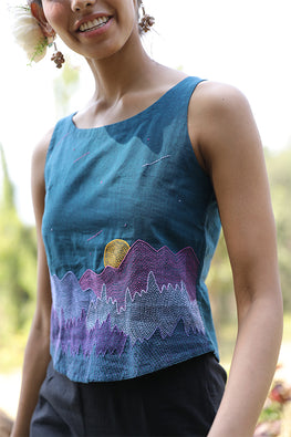 Okhai 'Saros' Hand Embroidered Pure Cotton Handloom Top