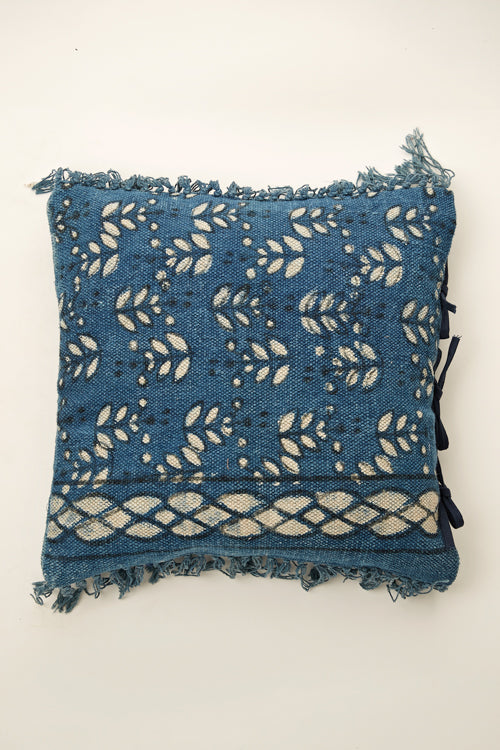 Lotus Veda Indigo Rug cushion 18 by 18