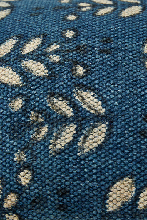Lotus Veda Indigo Rug cushion 13 by 17