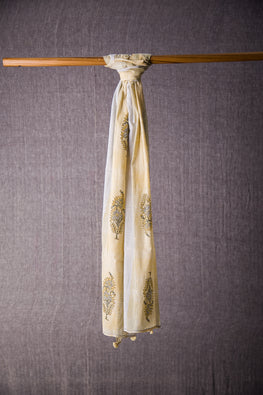 Lotus Veda handblock print white and yellow malmal stole