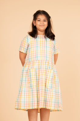 LVKID-10 Candy madras checks dress