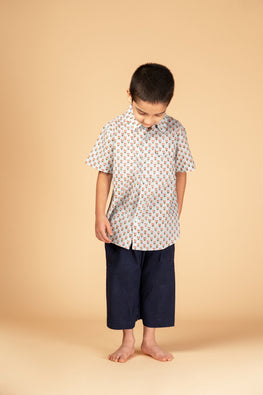 LVKID-19 Light blue Block print boy's shirt