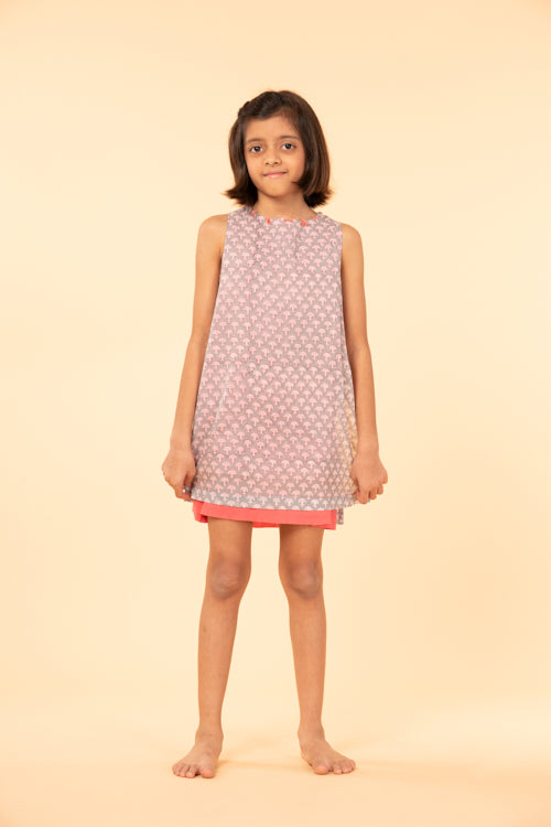 LVKID-1 Double layer block print dress