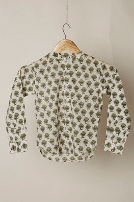LVKID-20 Green Floral block print boy's shirt