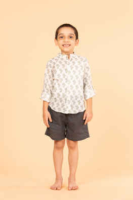 LVKID-21 Cat block print boy's shirt