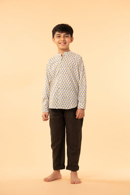 LVKID-22 Yellow and blue block print boy's shirt