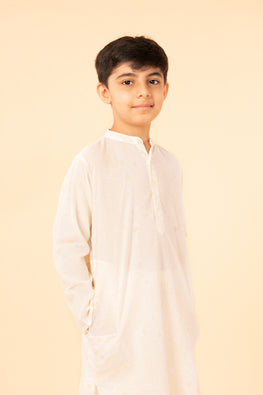 LVKID-23 Off white block print boy's polka kurta