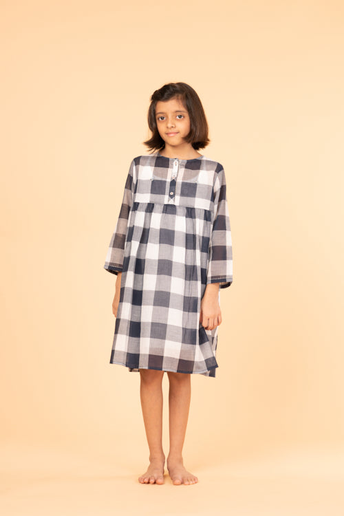 LVKID-26 Indigo cotton gingham dress