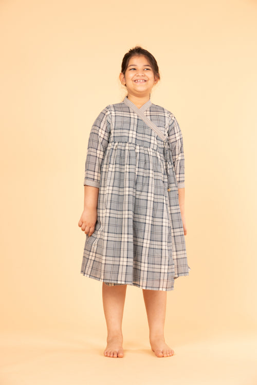 LVKID-27 Overlapping checks dress