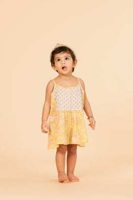 LVKID-30, Lotus veda yellow and blue handblock printed strap dress