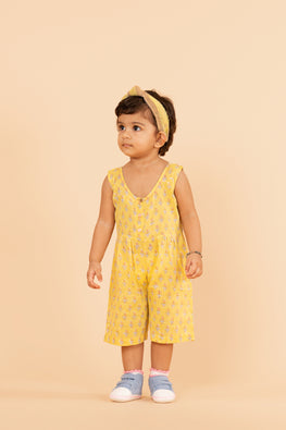 LVKID-31, Lotus veda yellow handblock printed jumpsuit dress