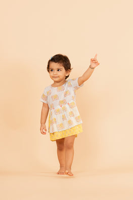 LVKID-32, Lotus veda Blue and yellow handblock printed dress