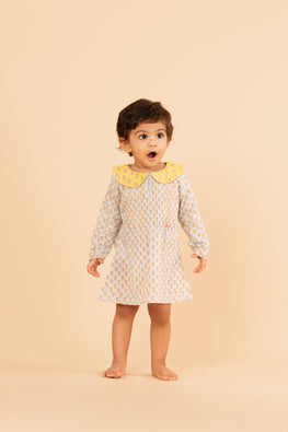 LVKID-33,Lotus veda Blue handblock printed dress