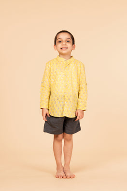 lvkid-36, Lotus veda Yellow handblock print boy's shirt