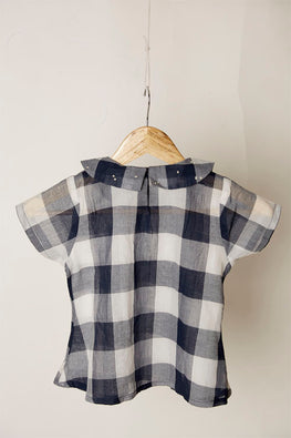 LVKID-38, Lotus veda Indigo gingham checks top