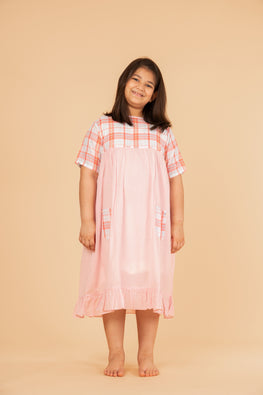 LVKID-7 Madras front pocket dress