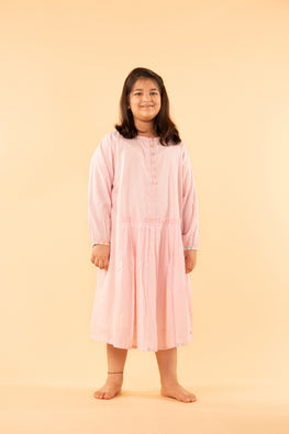 LVKID-9 Pink cotton madras checks dress
