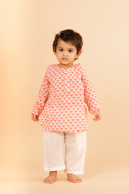 Lotus Veda Pink Umbrella Pure Cotton Kids Night Suit Set Online
