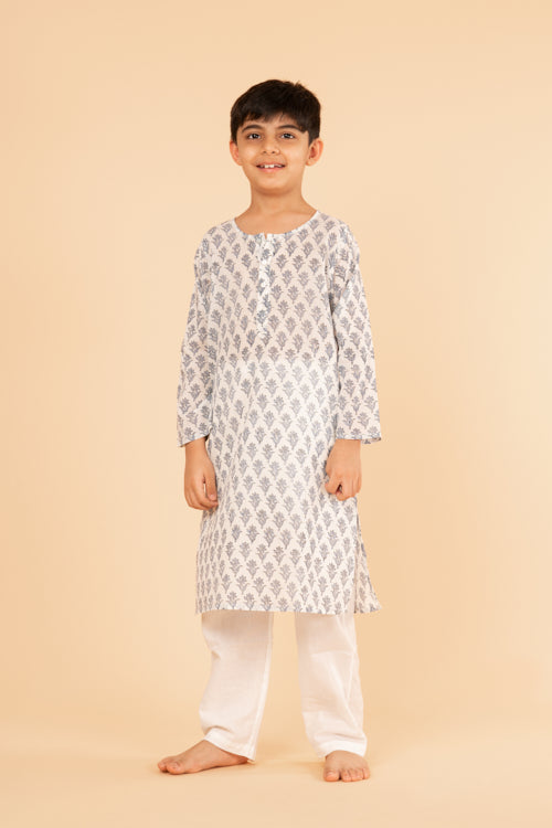 Lotus Veda Blue Flower Hand Block Printed Kids Night Suit Set Online