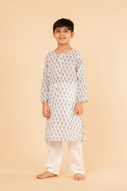 Lotus veda blue flower hand block printed kids night suit set