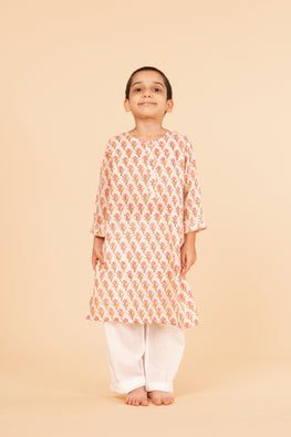 Lotus veda pink flower hand block printed kids night suit set