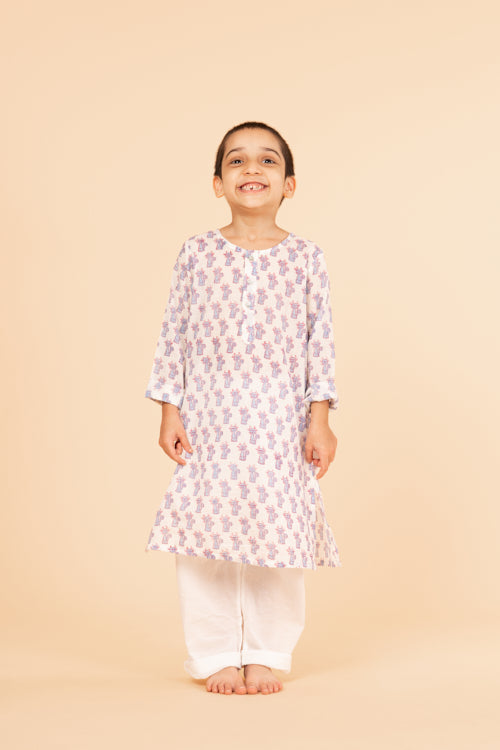 Lotus Veda Blue Cat Hand Block Printed Kids Night Suit Set Online