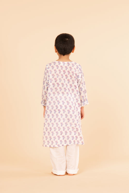 Lotus veda blue cat hand block printed kids night suit set