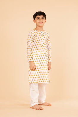 Lotus veda yellow fly hand block printed kids night suit set