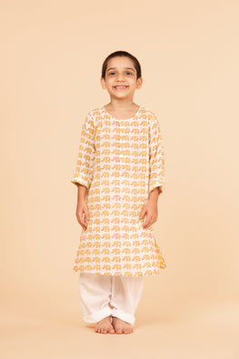 Lotus Veda Yellow Elephant Pure Cotton Kids Night Suit Set Online