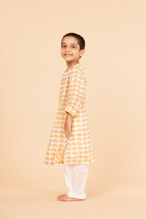 Lotus veda yellow elephant hand block printed kids night suit set