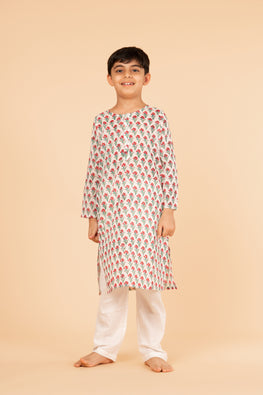 Lotus veda red flower hand block printed kids night suit set