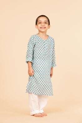 Lotus veda teal umbrella flower hand block printed kids night suit set
