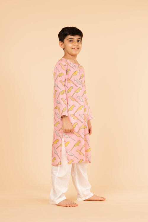Lotus Veda Pink Parrot Pure Cotton Kids Night Suit Set Online