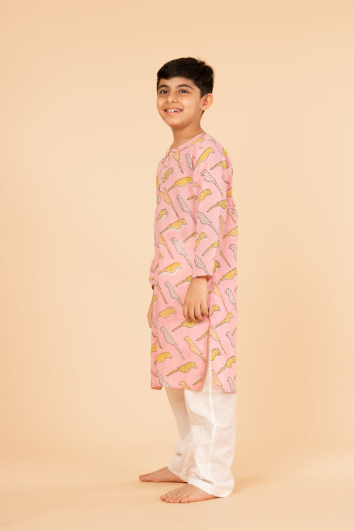 Lotus veda pink parrot hand block printed kids night suit set