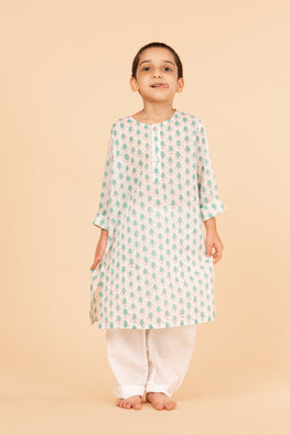 Lotus veda green fish hand block printed kids night suit set