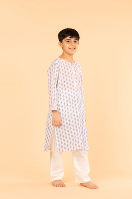 Lotus veda blue fish hand block printed kids night suit set