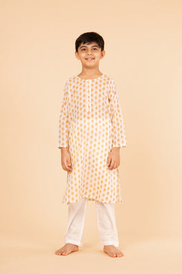Lotus veda yellow fish hand block printed kids night suit set
