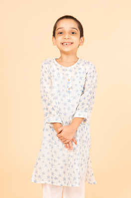 Lotus veda blue star hand block printed kids night suit set