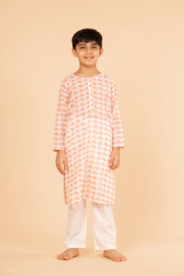 Lotus veda peach elephant hand block printed kids night suit set