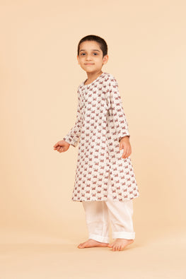 Lotus veda dog hand block printed kids night suit set