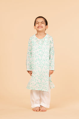 Lotus veda green star hand block printed kids night suit set