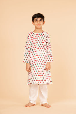 Lotus veda red fly hand block printed kids night suit set