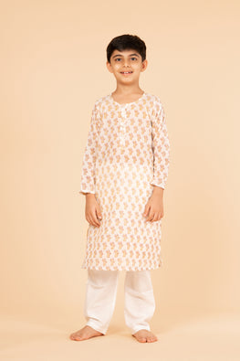 Lotus veda yellow cat hand block printed kids night suit set
