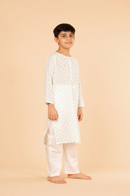 Lotus veda green polka hand block printed kids night suit set