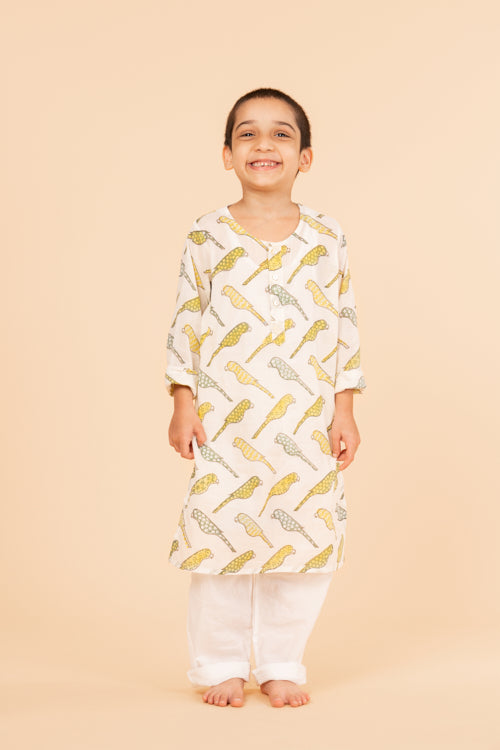 Lotus Veda Yellow Parrot Pure Cotton Kids Night Suit Set Online