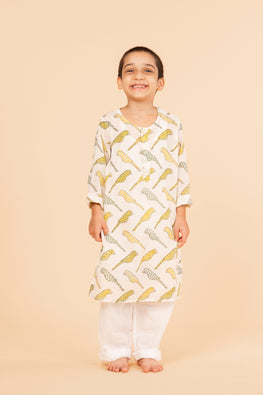 Lotus veda yellow parrot hand block printed kids night suit set