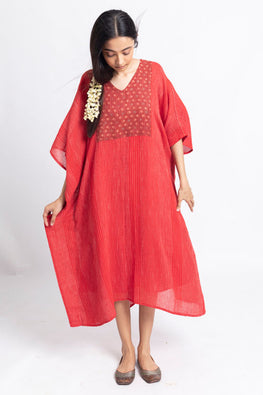 LVLILA-151 Lotus veda Rang Red cotton yarn dyed kaftan