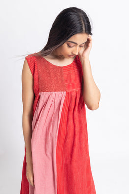 LVLILA-152 Lotus veda Rang Red cotton yarn dyed sleeveless dress